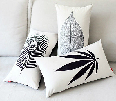 black white leaf peacock feather cushion cover velvet lumbar pillow case elegant leaf decorative. Black Bedroom Furniture Sets. Home Design Ideas