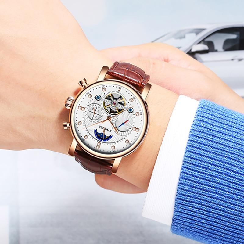 KINYUED Fashion Brand Tourbillon Watch Men Luxury Genuine Leather Automatic Man Mechanical Watches Moon phase Calendar Hours цена и фото