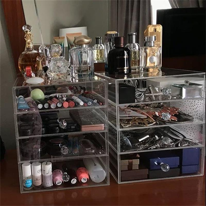 4 Layers Transparent Acrylic Makeup Organizer With Drawer Desktop Storage Boxes Clear Desk Make Up Organizer Cosmetic Holder