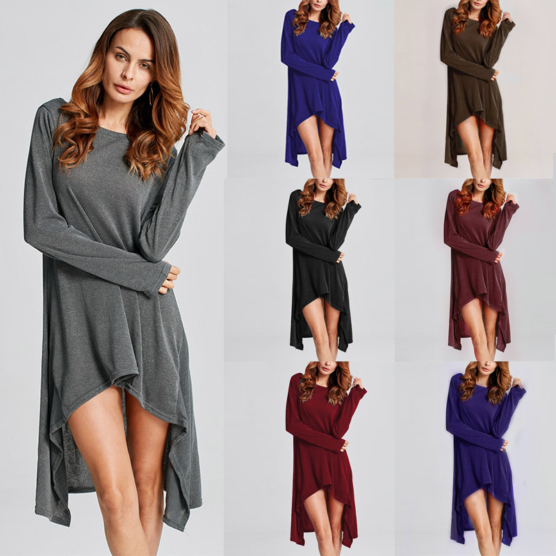 ZANZEA Women Sweater Dress 2018 Autumn Long Sleeve Asymmetric Hem Casual Loose Knitted Midi Vestidos Women Clothes Plus Size 1