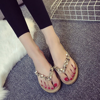 2017 New Summer Style Women Flip Flops Shoes Beach Sandals Rhinestones Beaded Women S Slippers Plus