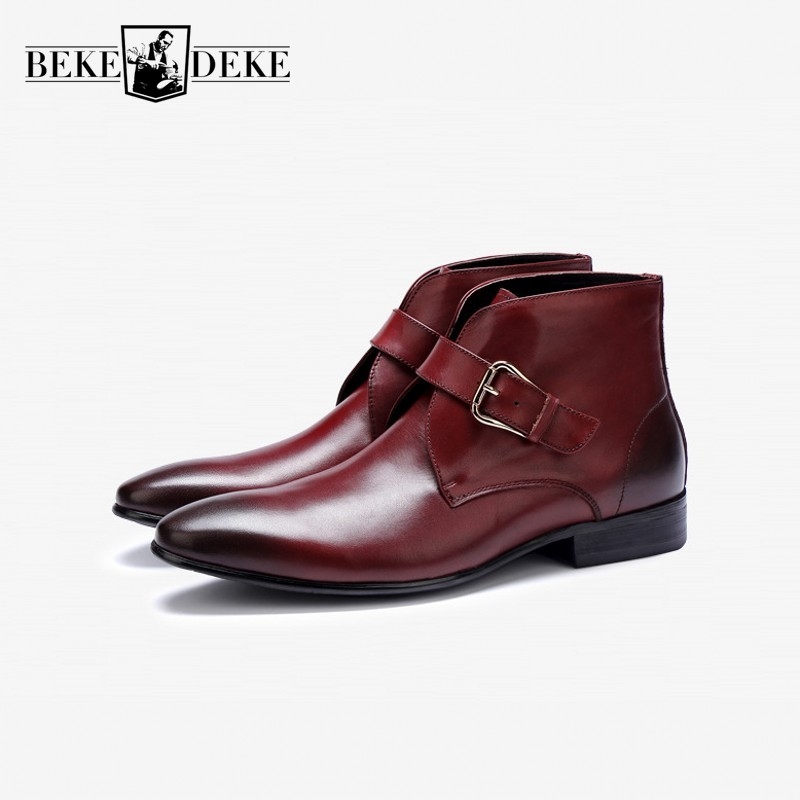 Punk Rock Mens Buckle Pointy Toe Leather Formal Dress casual Ankle Boot Shoes