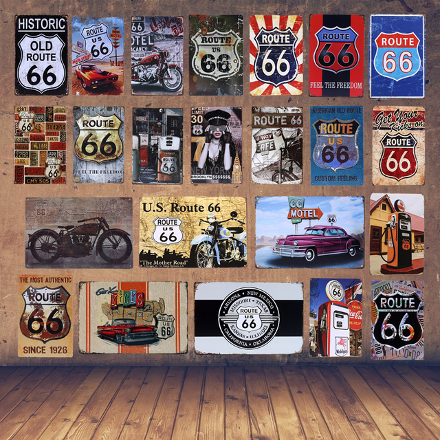 Retro Metal Poster Gas Station US Route 66 Tin Signs Vintage Home ...