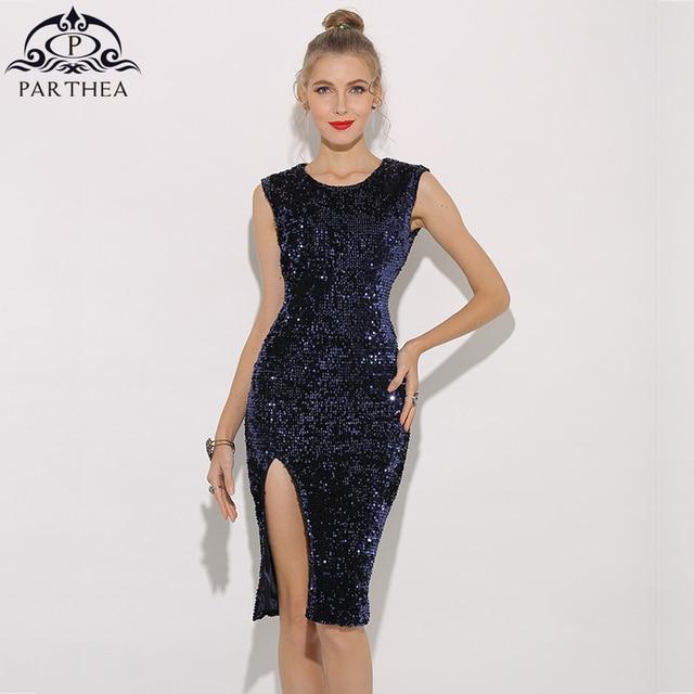 40d4e9ab30 Parthea Sexy Summer Dress Women Sequin Party Dress Female Vestido  Sleeveless Split Club Evening Sequined Bodycon