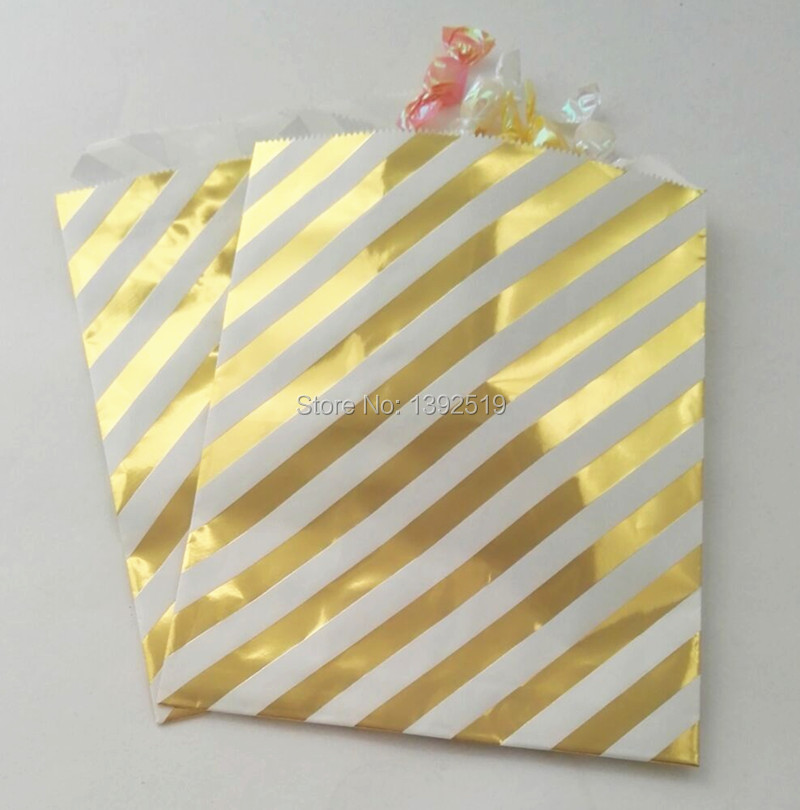 Free Shipping 1000pcs Metallic Gold Striped Candy Bags Party Favor Gift Packaging Paper For Kids Birthday In Wring Supplies From
