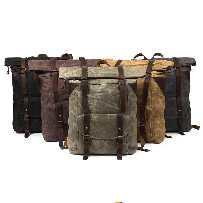 YUPINXUAN 5 اللون الخيار أوروبا الرجعية مصمم حقائب للرجال ضخمة قدرة حقيبة السفر مع جلد البقر أحزمة و المسامير-في حقائب الظهر من حقائب وأمتعة على  مجموعة 1