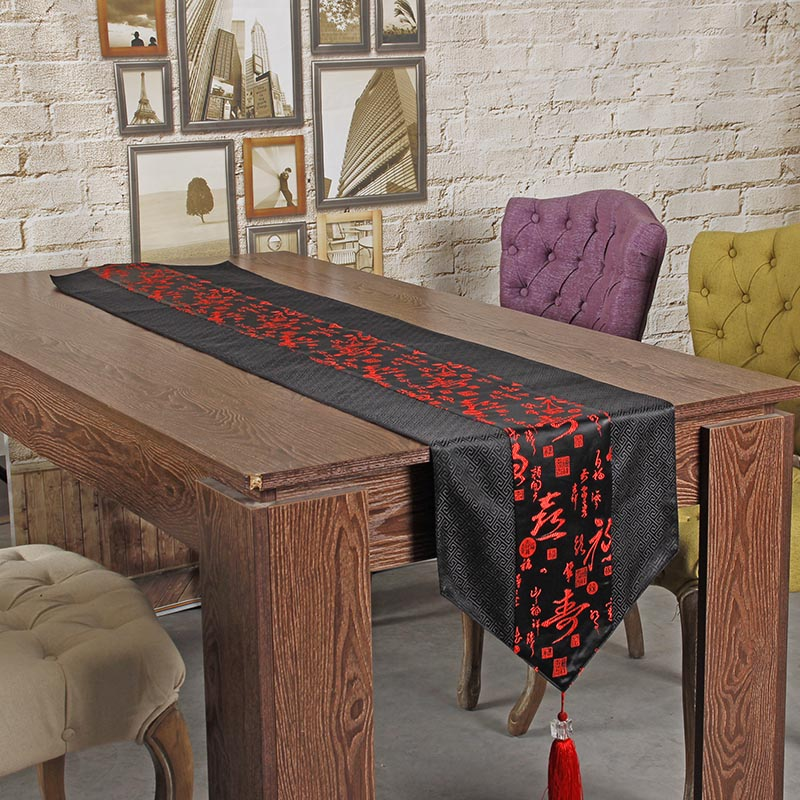 Embroidered Table Runner Cloth Chinese Silk Tablecloth