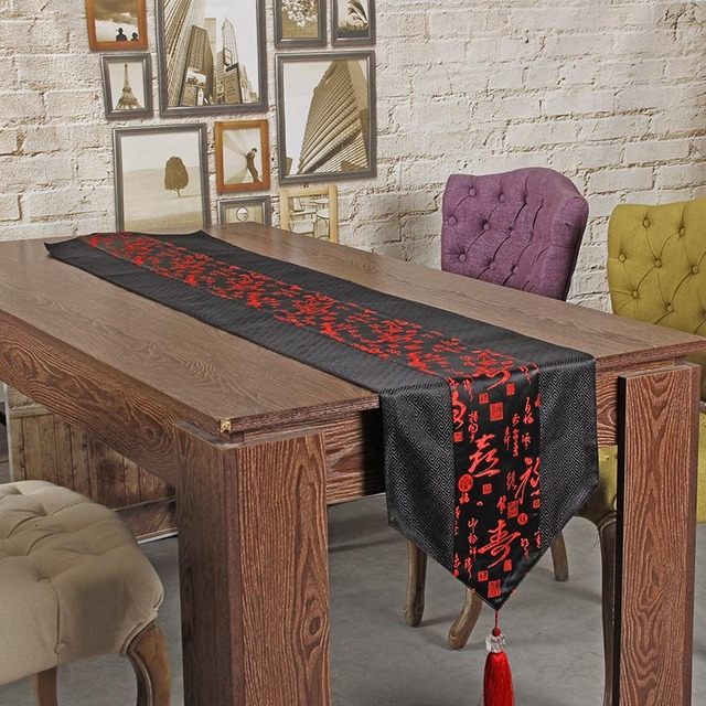 Genial Embroidered Table Runner Cloth Chinese Silk Tablecloth Dining Luxury Long Table  Runner Fabric Red Wedding Runners