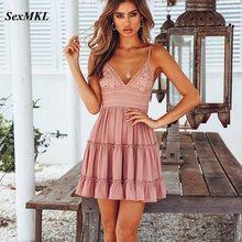 SEXMKL белое летнее платье на тонких бретельках, платья с бантом, сексуальное женское пляжное платье без рукавов с v-образным вырезом и открытой спиной, кружевное лоскутное платье Vestidos