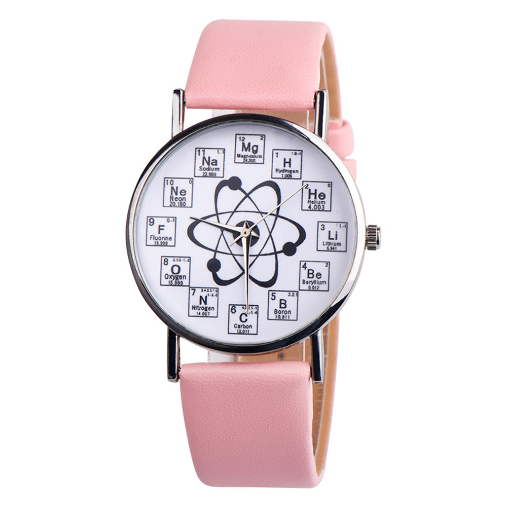Fancy Womens Chemical Element Casual Leather Analog Quartz Watch Simple fashion chemical element ladies watches