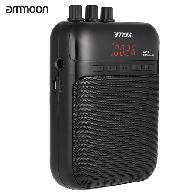 ammoon AMP  01 5W Guitar Amp Recorder Speaker TF Card Slot Compact Portable Multifunction