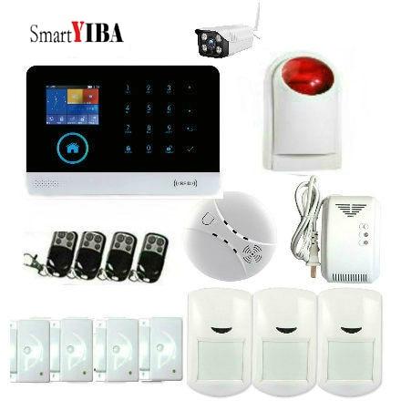 цена SmartYIBA Smart Home WIFI GSM Security Alarm System 2.4inch TFT display screen PIR Motion Sensor Door Sensor Smoke Gas Detector