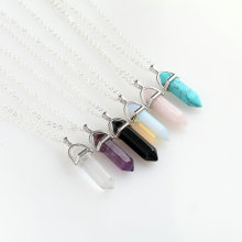 Hexagonal Column Natural Crystal Tiger Eye turquoises pendentif amethyste Stone Pendant Chains Necklace For Women Jewelry
