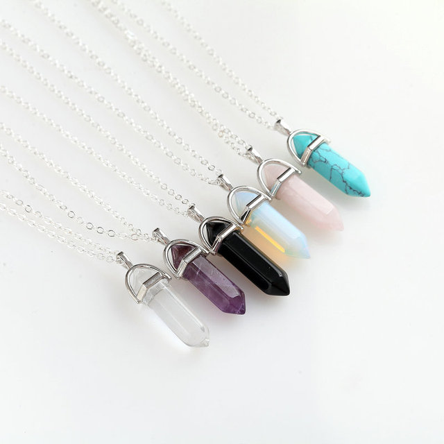 Hexagonal Column Necklace Natural Crystal turquoise Agate Amethyst Stone Pendant Chains Necklace For Women Fine Jewelry