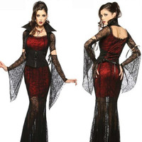 Nouveau Gothique Sexy Costume Halloween Robe Costume Sexy Sorcière Vampire Costume Femmes Mascarade Halloween Party Cosplay Costume