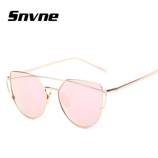 47dce00188a169 Snvne Cat Eye Aviator Sonnenbrille Frauen Vintage-Mode Metallrahmen Spiegel  Sonnenbrille Flache sonnenbrille Damen Sonnenbrille