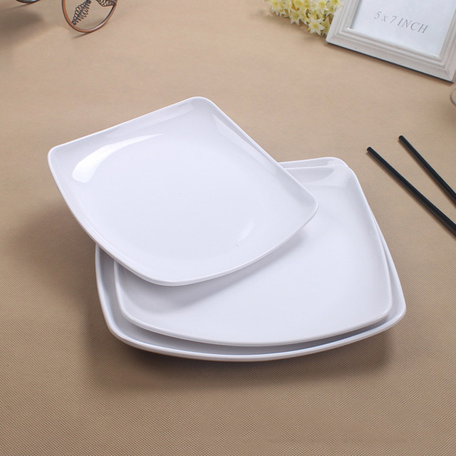 Melamine Dish Dinner plate Square Dish Japan Style Flat Plate Porcelain White Thickening High-Grade & Melamine Dish Dinner plate Square Dish Japan Style Flat Plate ...