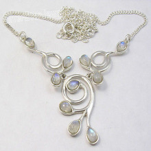 GEMSET plata DEL ARCO IRIS MOONSTONE Collar de 16 3/4 Inches 9.6 Gramps