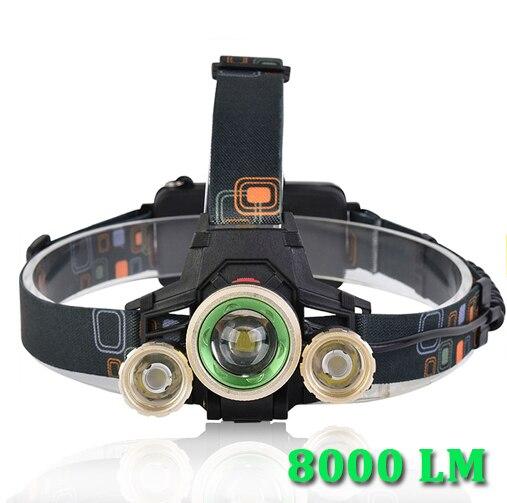 Pocketman 8000lm светодиодный налобный фонарь фар T6 + 2xpe головного света фонарик светодиодный светильник Перезаряжаемые фара Водонепроницаемый T6 ...