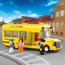 Sluban 0507 219PCS Building Block Set Compatible with lego Mini school bus traffic 3D Construction B