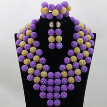 Luxury Purple&Gold Chunky Costume Statement Necklace Set Plastic Resin Balls Wedding Jewelry Set for Women Free Shipping QW448