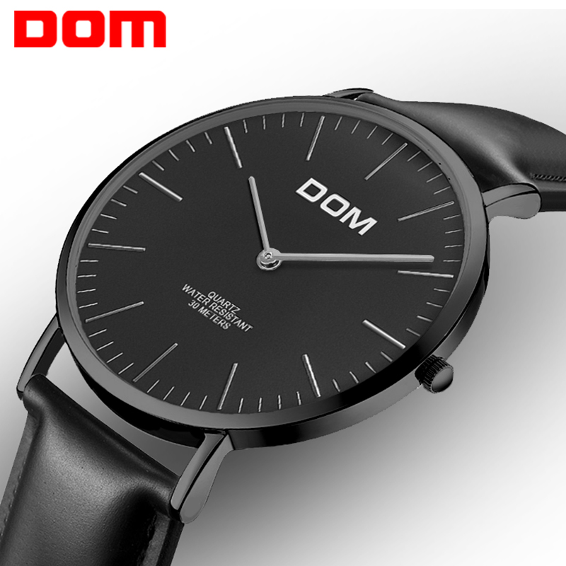 Watch men DOM Top Brand Luxury Quartz watch Casual quartz-watch leather Mesh strap ultra thin clock male Relog M-36BL-1M