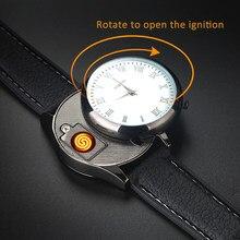 a6c1c6651e7 Os homens Assistir Isqueiro Carregamento USB Sem Chama Mais Leve fio de  aquecimento Substituível Casual relógios de Pulso de Qua.