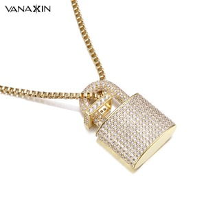 Image 2 - Micro Paved Crystal Lock Pendant Necklace Women/Men Gold Color Fine Jewelry Hiphop Top Quality CZ Christmas Gift