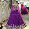 Arábia Saudita Casamento Vestido Roxo Vestidos de Casamento Appliqued Lace Up Voltar Vestidos de Noiva Custom Made 2017