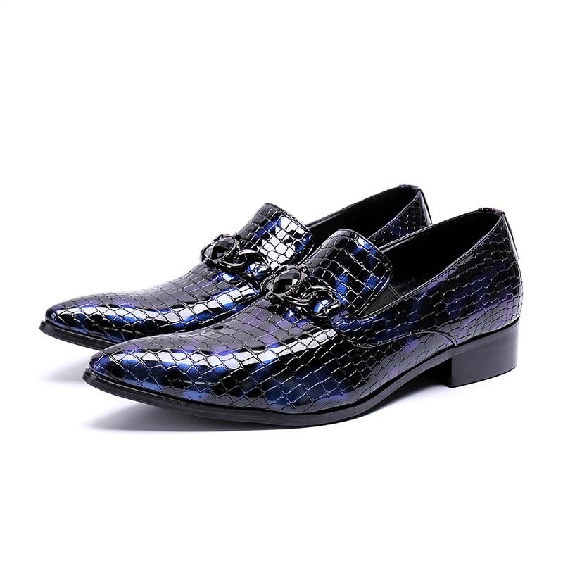 Chaussures Chunky Mâle Hiver Cuir Slip 2018 Pointu As Motif Boucle Nouveau Show Bout Cristal Sur Talon Chaîne Bleu Robe Pierre En Hommes wXO0PkN8n