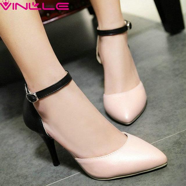 Western Style PU Leather Stilettos 8 CM Thin High Heel Wedding Shoes Woman Ankle Strap Mixed Color Pointed Toe Pumps Size 34-43