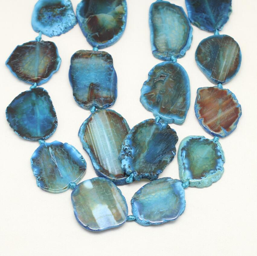 Natural Blue Dragon Veins Achate Beads,Freeform Slabs Loose Beads,Large Size,Smooth Gems Pendant Jewelry