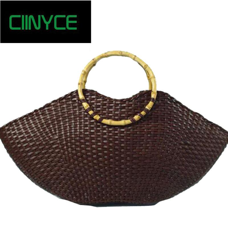 лучшая цена Brand Design Real Cowhide Genuine Leather Women's Large Handbag Vintage Hobos Bamboo Handel Knitting Retro Weaving Totes Bags