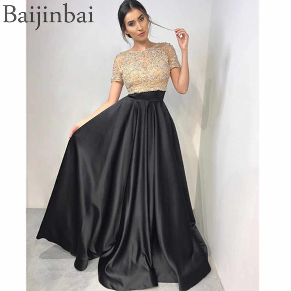 168adc86a71 Baijinbai Beaded Two Piece Ball Gown Prom Dresses Illusion Top Short  Sleeves Pageant Evening Gowns Party