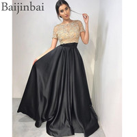 Baijinbai Beaded Two Piece Ball Gown Prom Dresses Illusion Top Short Sleeves Pageant Evening Gowns Party Dress with Pockets