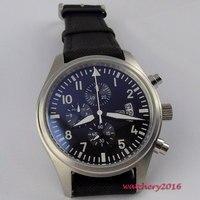 42 мм Парнис черный циферблат в винтажном стиле световой кварцевый хронограф мужские часы