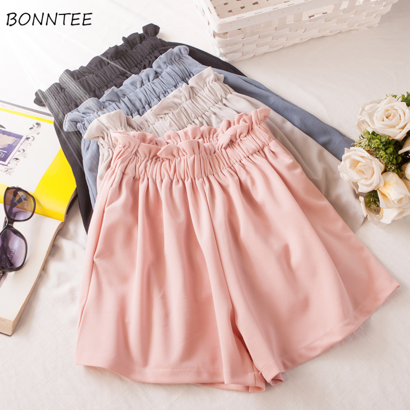 Shorts   Women High Waist Wide Leg Korean Version Chiffon Large Size Womens Trendy Loose Summer Breathable Ladies Elegant Pink New