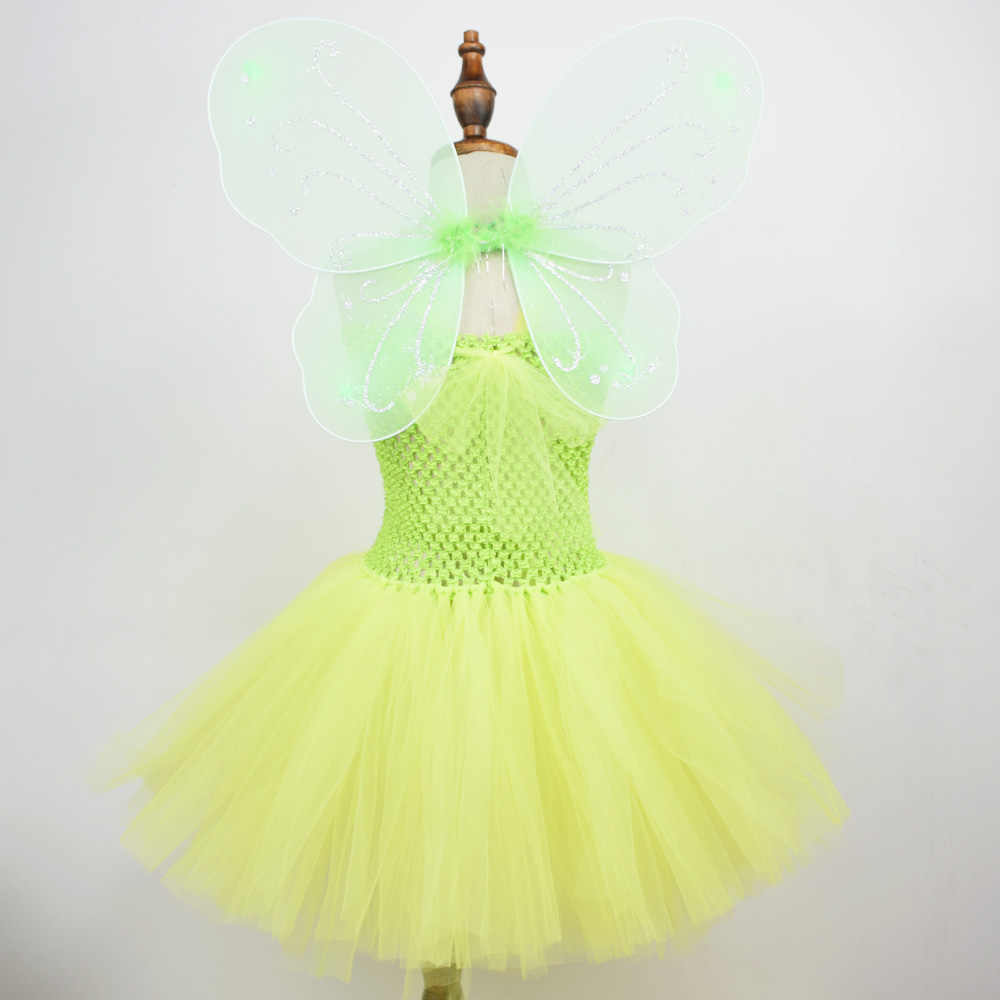 13983fb6ac Detail Feedback Questions about Lime Green Fairy Costumes Wings Flower Girl  Tutu Dress Halloween Tinkerbell Costume Kids Fancy Party Dresses on ...