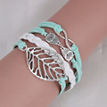 Attractive Romantic Leaf Double Owl Alloy Woven Bracelets Wax Cord Wrap Bracelets Bangles for Women Jewelry
