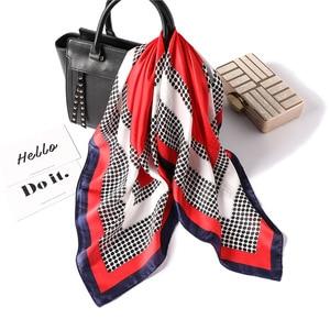 Image 4 - 女性ポルカドットプリントソフトハンドルバッグファム髪スカーフ教徒ヒジャーブヘッドバンドバンダナ正方形の絹のスカーフ70x70