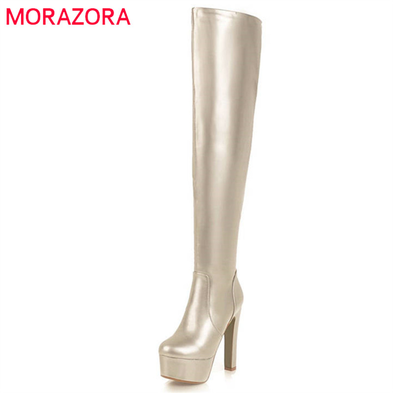 MORAZORA 2018 new arrival thigh high over the knee boots women round toe autumn winter platform boots sexy party shoes woman new arrival sexy over the knee boots women platform round toe thin high heels boots black white shoes woman winter