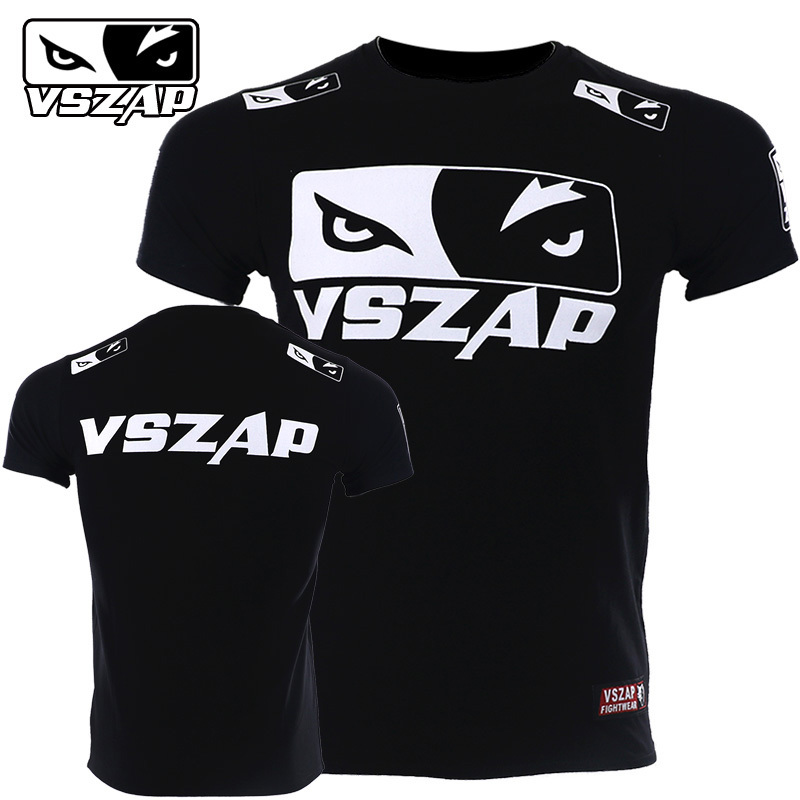 VSZAP Boxing Clothing Shorts MMA Jersey MMA Boxing Sports Gym T Shirt Muay Thai Fighting Fitness Elasticity Shirt Sweatshirts