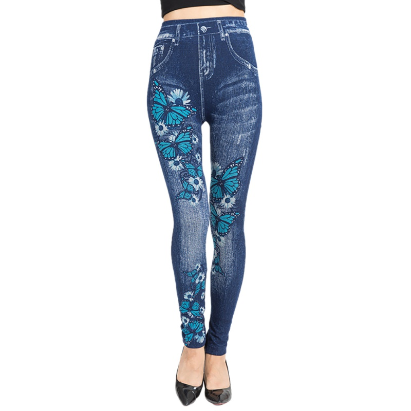 Fashion Women's Sexy Floral Jeggings High Waist Stretch Denim Print   Leggings   with Pocket Nn2