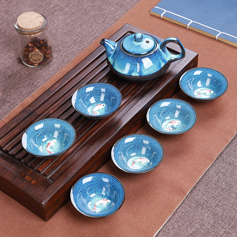 Tenmoku Fish Gong Fu Tea Ceremony Tea Set