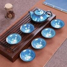 Jun фарфоровый чайный набор кунг-фу Tenmoku рыба забавная чайная чашка руды Zisha чайный горшок набор 1 чайник+ 6 чашек
