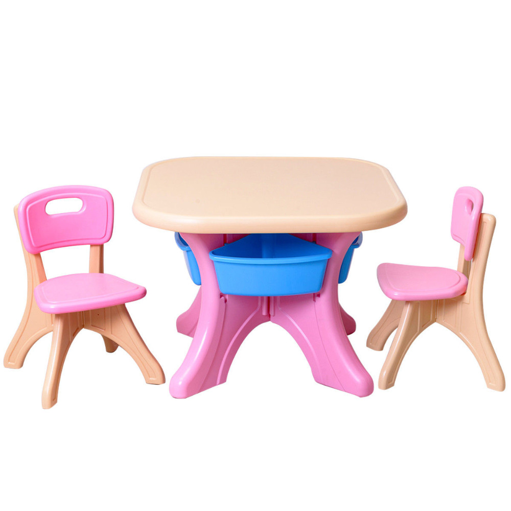 Plastic Children Kids Table & Chair Set 3 Piece Play Furniture In ...
