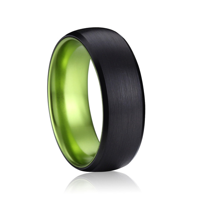 queenwish tungsten wedding rings 8mm black brushed domed ip green plating engagement and wedding ring sets - Tungsten Wedding Ring Sets