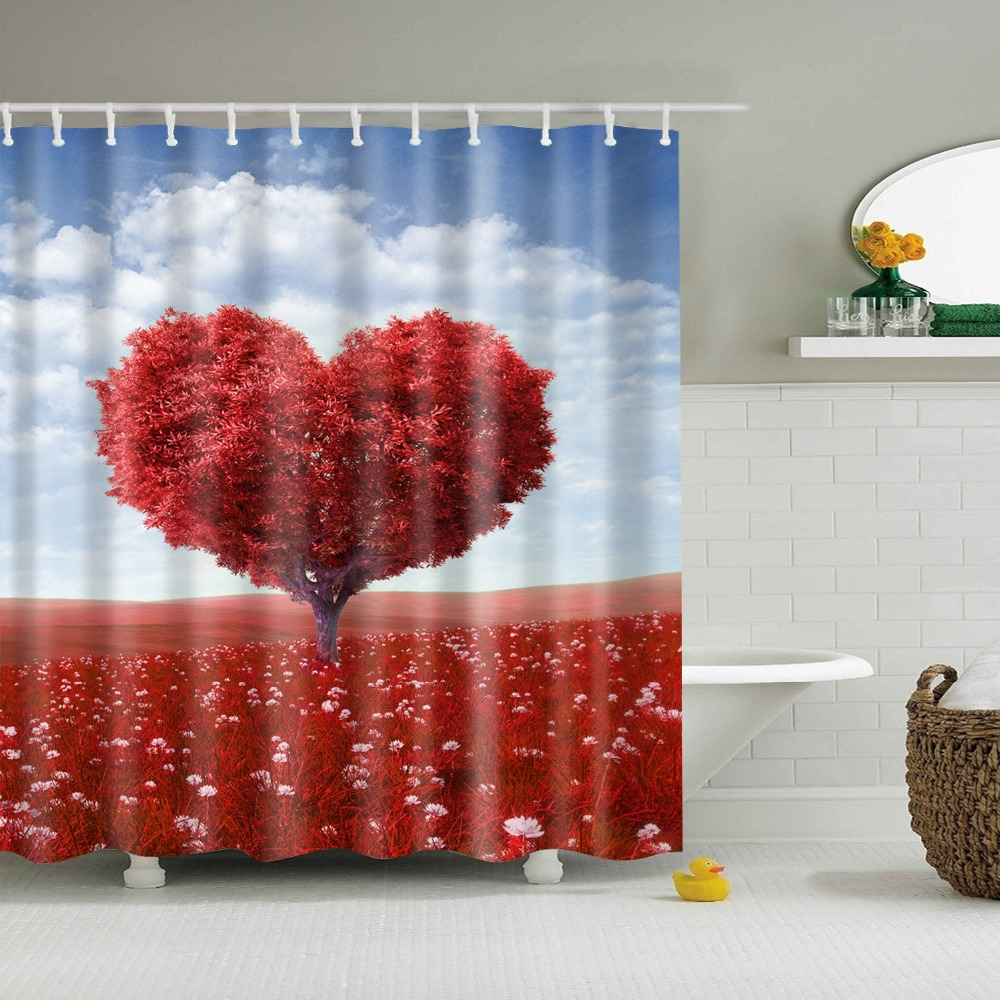 Target red shower curtains - Printed Heart Tree Bathroom Curtains Rideau Douche 2017 New Design Shower Curtain Cortinas De Ducha