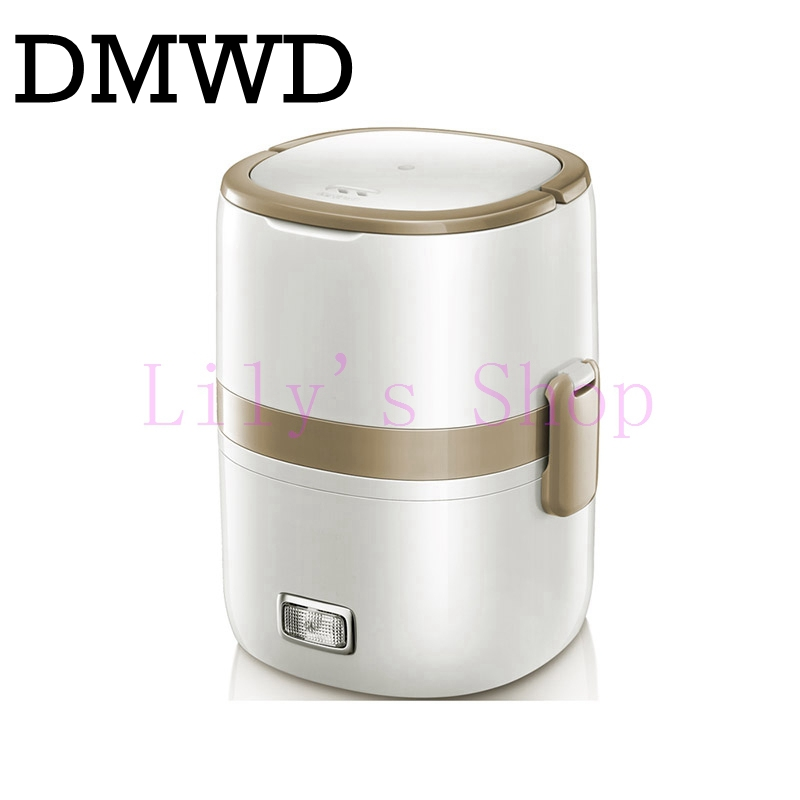 Electric 2 layer stainless steel lunch box large capacity Portable Steamer electric meals Food Container rice cooker warmer 1.5L dmwd 3 layers electric insulation heating lunch box pluggable steamer electrical rice cooker stainless steel food container eu