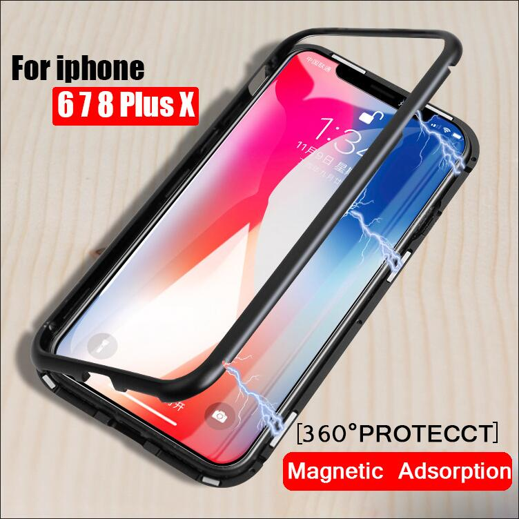 Magneto Magnetic Adsorption metal case for iphone X iphone 7 8 case luxury cover for iphone 8 7 Plus magnet tempered glass cases